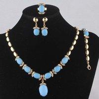aquamarine gold earrings - 2014 Charming Women k Gold Filled Crystal Blue Aquamarine Necklace Bracelet Earring Ring Wedding Jewelry Set