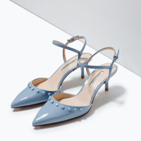 Wholesale 2015 New Women Fashion Light Blue Med Heel Slingback Sandals Pointy Toe Party Pumps Candy Colors Patent Leather Rivets Shoes