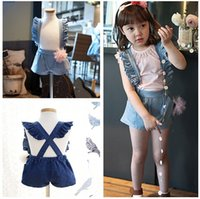 Wholesale NEW kids girl jean shorts braces suspender jeans children denim girls A2
