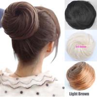 Wholesale New Fashion Womens Girls Straight Donut Hair Bun Synthetic Scrunchie Ladies Hair Bun Cover Hairpiece Hair Extension FJ05C