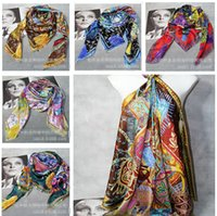 silk twill scarf - 5 colors Cavaliers du Caucase Cashmere Silk Shawl Scarf CM big size luxury scarves Twill silk silk Scarves christmas gift m0506