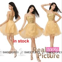 Wholesale Gold Sequined Homecoming Dresses IN STOCK Cheap Sweetheart Tulle A Line Mini Short Corset Prom Dress Cocktail Party Gowns Real Image