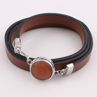 Wholesale Women Trendy Leather Bracelet with Button Snaps Wrap Wristband Adjustable Bangles Bracelets B211