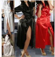 babydoll gown - Sexy long silk nightdress sleepwear for women new design Kimono Dressing Gown Bath Robes pajamas Babydoll Lingerie Nightdress wholesales
