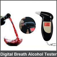 Wholesale Pc Key Chain Alcohol Tester Prefessional Police Digital Breath Alcohol Tester Analyzer Breathalyzer With Mouthpieces