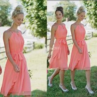 coral for sale - 2015 New Arrival Coral A Line Halter Knee length Chiffon Bridesmaid Dresses with Cascading Ruffles Short Maid of Honor Dress Cheap for sale