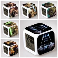 Wholesale 54 Styles Star Wars LED Color Change Lightsaber Digital Alarm Clocks Yoda Skywalker Despertador Star Wars Figure Anime Clock Thermometer