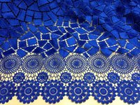 cotton lace fabric - 2014 latest African guipure lace fabric cupion lace chemical for wedding royalblue DH1000