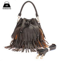 Cheap Fashion Women Bucket Tassel Handbags Rope European and American Style Shoulder Bags Tote Fringe Design 2 Colors Girl Party Bag