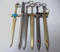 Wholesale Retail Key Chain Sword Art Online SAO Kirigaya Kazuto Kirito Yuki Asuna Keychain Cosplay Black Key Ring