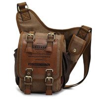 Wholesale 100 Brand New Hight Quality Mens Boys Vintage Canvas Shoulder Military Messenger Bag Sling School Bags
