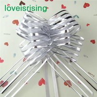 Wholesale Factory Directly Sell Lowest Price cm Large Size Silver Color Organza Pull Bows Wedding Favors Supplies