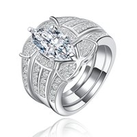 Wholesale White gold filled rings for Women Fashion jewelry luxury bague engagement wedding CZ Diamond MSR123