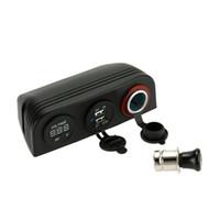 Wholesale LED Motorcycle Voltmeter Dual USB socket Charger Cigarette Lighter Power Socket with Lighter Tent Base Car Truck Boat for ATV DHL K3053