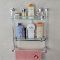 Wholesale Factory direct high quality double Shelf Space aluminum pendant bathroom towel bar bathroom accessories F114A