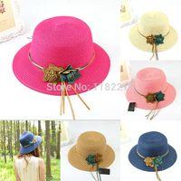 Gros-Fashion Chic Femmes Filles Chapeau de Paille de lin Brim Trilby plaisancier Summer Beach Chapeau de soleil avec des fleurs Many Colors livraison gratuite