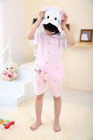 Wholesale Cosplay HK cat kigurumi animal costume for child children cotton cut pajamas fashion comfortable short pyjamas nightwear jumpsuit
