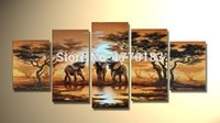 african elephant artwork - Hand painted African wild life landscape elephants home Decor Oil Painting on canvas panel artwork paints t5p28