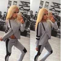 Wholesale Sports suit Spring new Irregular lateral version of casual long sleeved sweater women s suits tide