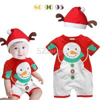 Wholesale 2014Toddlert clothing for Christmas Christmas snowman modelling baby romper with cap baby jumpsuits bodysuit set Year baby gift1707034