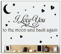 Wholesale New Christmas Cartoon Wall Stickers I Love You To The Moon And Back Again Quote Sticker Wallpaper Wall Decals PVC Party Decorations Free DHL