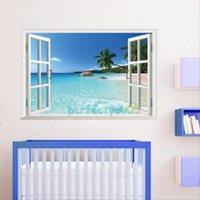 beach bathroom decor - 3D Window View Beach Resort Homen Decor Removable Wall Sticker Art Vinyl Decal Decor