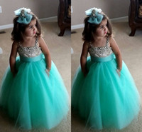 Wholesale Cute Turquoise Green Flowe Girls Dresses Spaghetti Straps Crystal Beaded Tulle Ball Gown Toddler Infaint Pageant Dresses For Girls