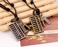 ancient abacus - Pendant Necklaces Gift Ancient silver Bronze alloy square abacus pendants cross leather personalized unisex