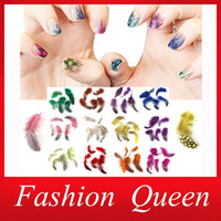 Wholesale Sexy d Feather Nail Art Decoration Mix colors Hot DIY Nail Beauty Accessories Nail Stickers Supplies