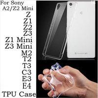 al por mayor xperia z1 estuche blando-El caso ultra delgado perfecto cristalino claro transparente de TPU para Sony Xperia Z Z1 Z2 Z3 Mini Mini compacto C4 M2 T2 T3 C3 E3 E4G (A0501)