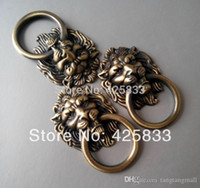 Wholesale Antique Bronze Cartoon Lion Head Cabinet Handles Knobs Drawer Pulls Closet Drawer Door Hardware A3