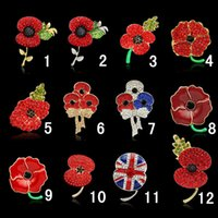 anniversary gifts uk - Fashion UK Brooches Royal British Legion Brooch Red Crystal Poppy Flower Brooches Pins for Women Styles Available DRBR1