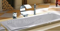 Wholesale Chrome Brass Widespread Single Handle Waterfall Tub Faucet With Hand shower Faucet For Bathtub