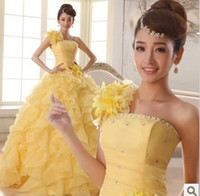 Wholesale 2015 Cheap One Shoulder Ball Gown Quinceanera Dresses Sweetheart Graduation Ball Gown Ruffles Crystal Beads Lace Up zip Floor Length