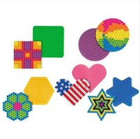 Wholesale Colorful Shape Puzzle Pegboards Patterns For mm Hama Beads Perler Beads DIY Kids Craft Plastic Stencil set