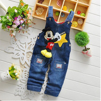 Wholesale 2015 New Arrive Boys Jeans Cartoon Mickey Straps Casual Denim Pants Costume Spring Autumn Children Wear Clothing Retail