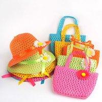 Wholesale Summer Hat Girls Kids Beach Hats Bags Flower Straw Hat Cap Tote Handbag Bag Suit