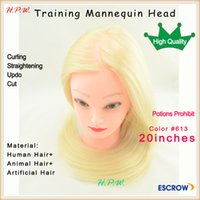 Wholesale Charlie s Angel FEMALE maniken manikin head with quot cm mix hair for hairdresser curling straightening cut hair styling training