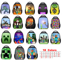 Wholesale Free DHL Minecraft School Bags Colors Good Quality My World Series Two Straps Shoulder Children Bag Creative Personality Steve Schoolbag