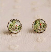 Cheap Cool Summer Green Tree Stud Earrings Vintage Jewelry Bronzed Cameo Earrings 12mm Christmas Lovely Earring for Friends-J462