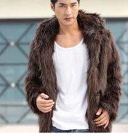 men fur coat - 1PCS Mens Brown imitation fur Hooded Coat imitation fox fur coat Mens Leather grass overcoats men winter coat men rabbit fur JACKET