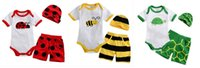 adorable animal designs - Adorable baby suit Three piece baby suit hat baby romper short pants Three lovely animal designs