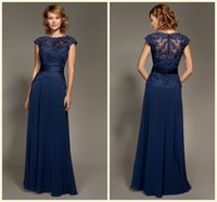 Cheap Custom made!Blue Scoop Neckline Lace Chiffon Cap Sleeves Mother Of The Bride Dresses Floor-Length Mommy Dresses