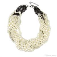 Wholesale Women Handmade Chunky Pearl Necklace Fashion Rhinestones Knitting Collar Chokers Necklaces Statement Jewelry Dress Bijoux CE2726