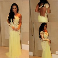 High Neck long sleeve bridesmaid dresses - 2015 Vestidos lace sheer long sleeve bridesmaid dresses one shoulder sheath slim women party gown prom dress yellow evening gownsAS635