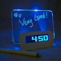 backlight board - New Blue LED Fluorescent Message Board Digital Luminous Alarm Clock Calendar LED Night Light Modem LED Alarm Clock Backlight Blue Green