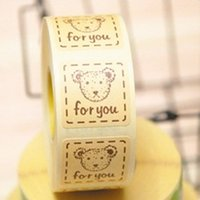 baking parchment - quot For You quot cartoon bear adhesive seals stickers labels homemade DIY tags for cookie cake gift packaging decoration