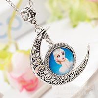 Wholesale New Frozen pendant necklaces moon shaped and snow flakes elsa and Anna OLAF jewelry children cartoon necklaces Children s Jewelry