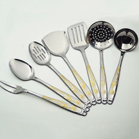 Wholesale New stainless steel cookware sets kitchenware spoon shovel pieces lotus pattern household