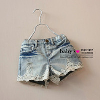 Wholesale Summer Children Denim Shorts Korean Girl Lace Shorts Kid s Jeans Hot Pants Size Factory Sale Child Clothing wave ruffles